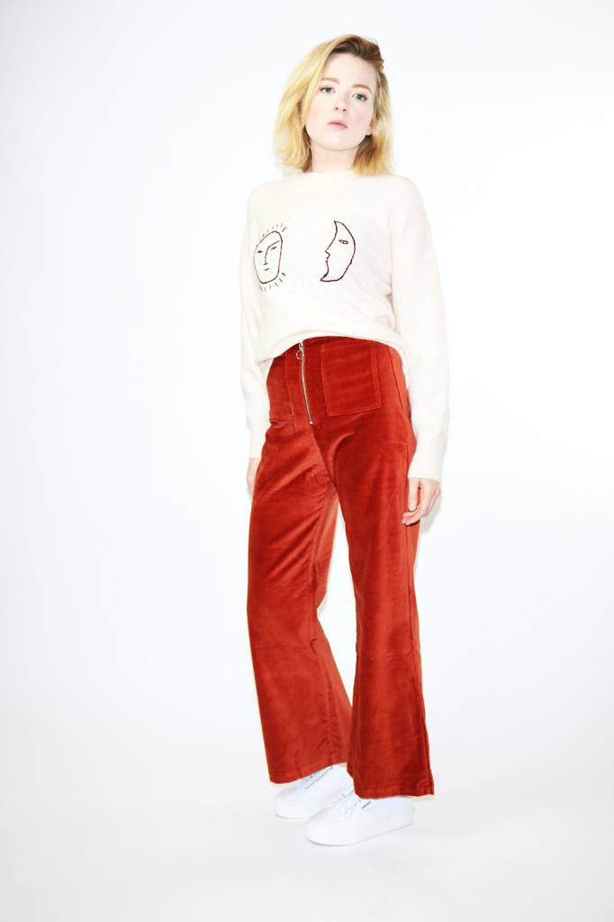 Paloma Wool Wadi Velvet Pants in Wine
