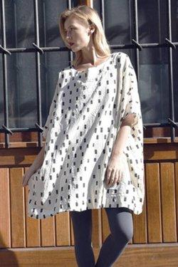 UZINYC Box Dress in Cream Disko