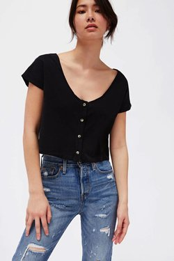 Lacausa Reversible Silk Top in Tar