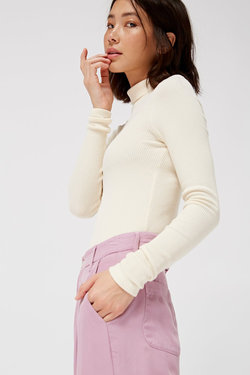 Lacausa Sweater Rib Turtleneck in Parchment