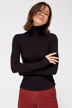 Lacausa Sweater Rib Turtleneck in Tar