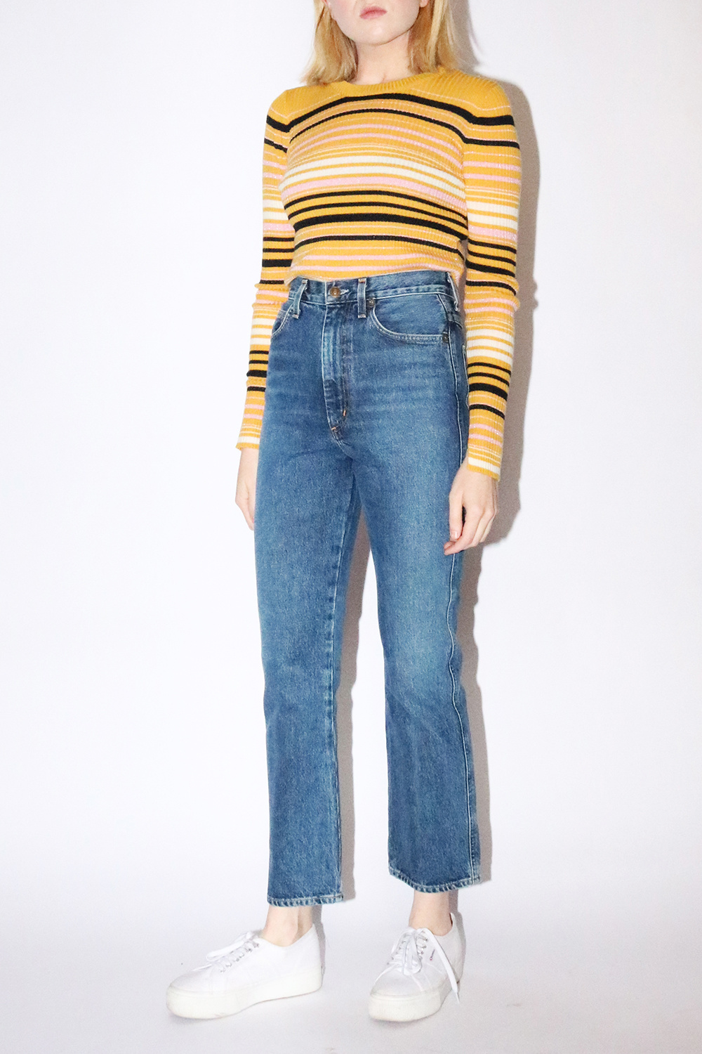 AGOLDE Pinch Waist Hi Rise Kick Jean in Placebo
