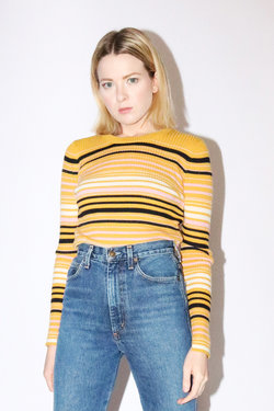 Just Female Crystal Knit in Yellow Stripe