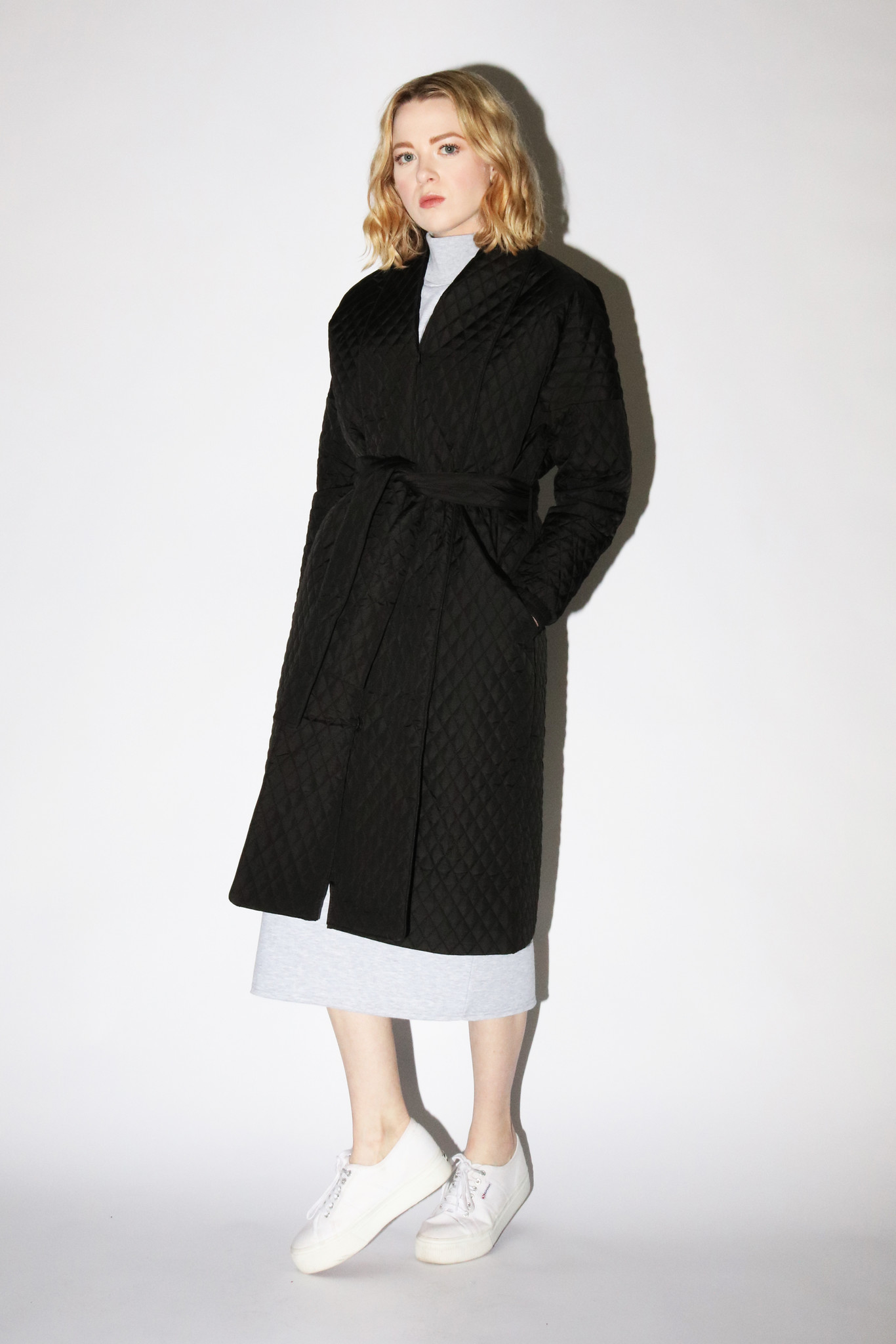 Just Female Quilted Maxi Coat in Black