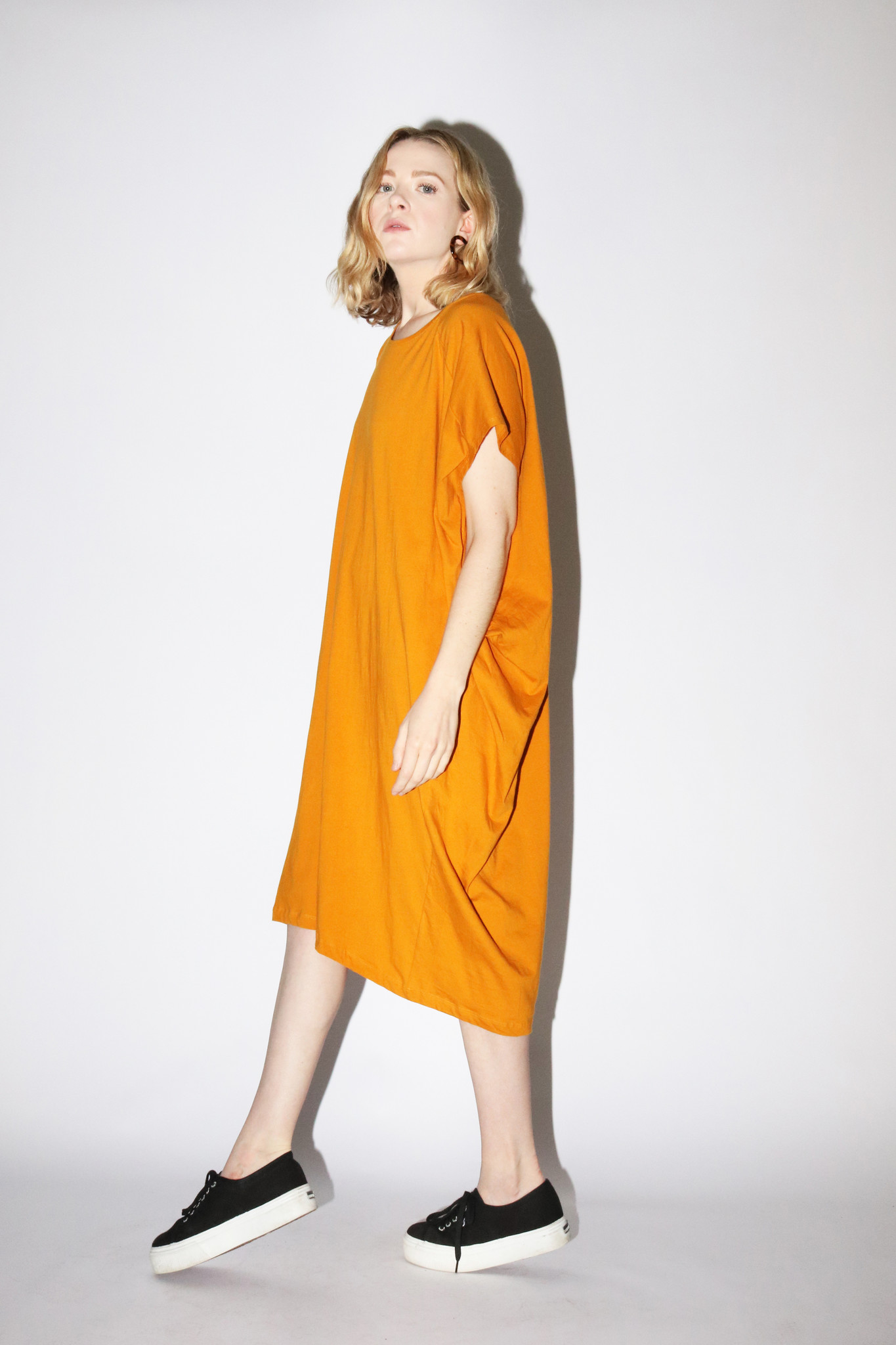 Kowtow Drape Dress in Amber