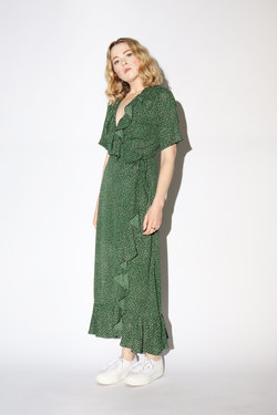 Just Female Image Maxi Wrap Dress in Green Dot