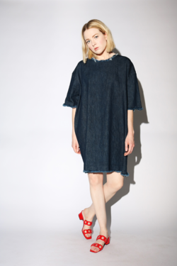 Ashley Rowe Short Dress in Dark Denim/Washed