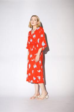 Just Female Johanna Dress in Orange Poppy Flower
