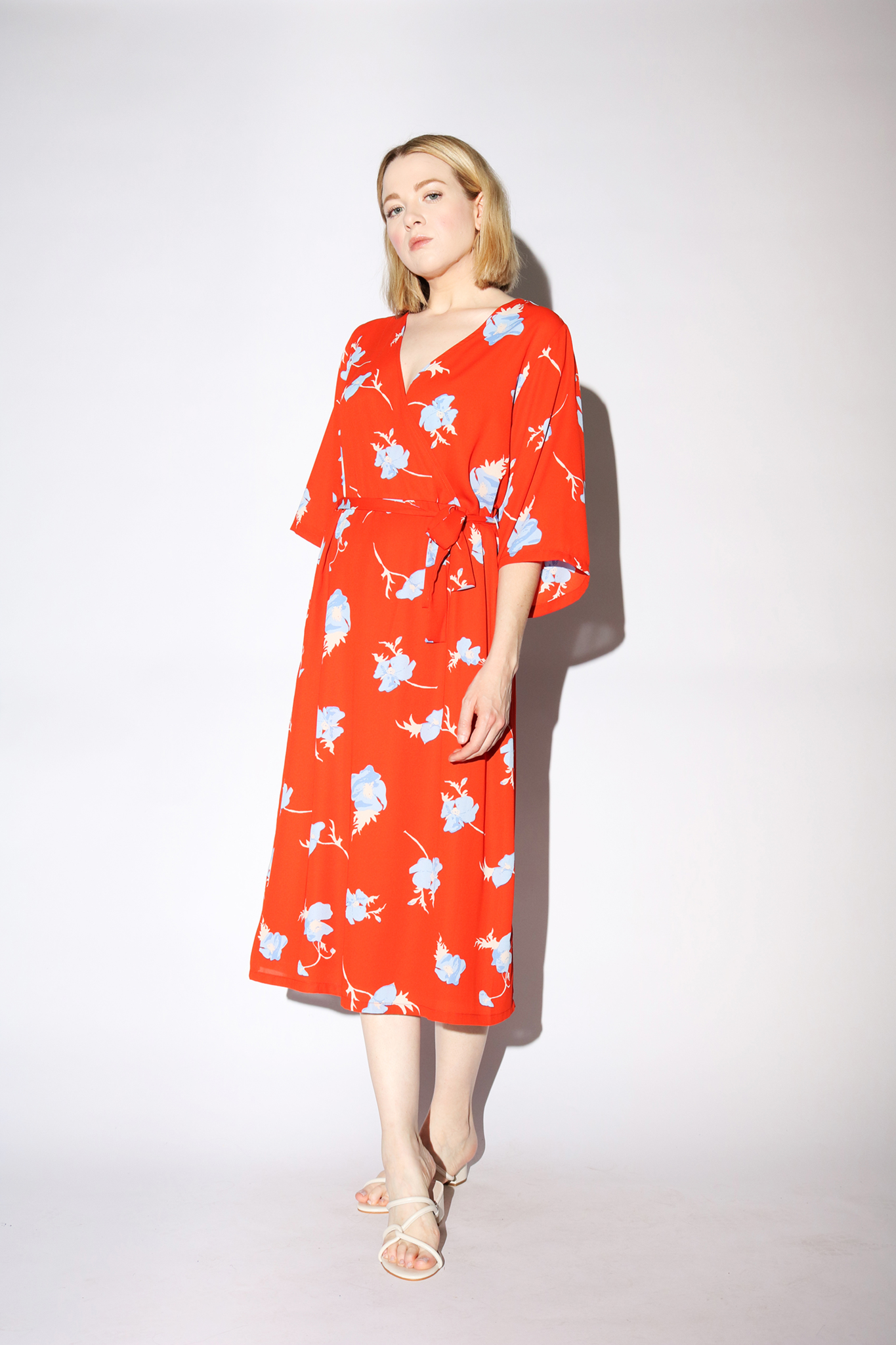 Just Female Johanna Dress in Orange Poppy Flower