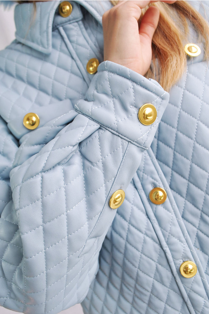 House of Sunny Quilted Shirt Jacket in Sky