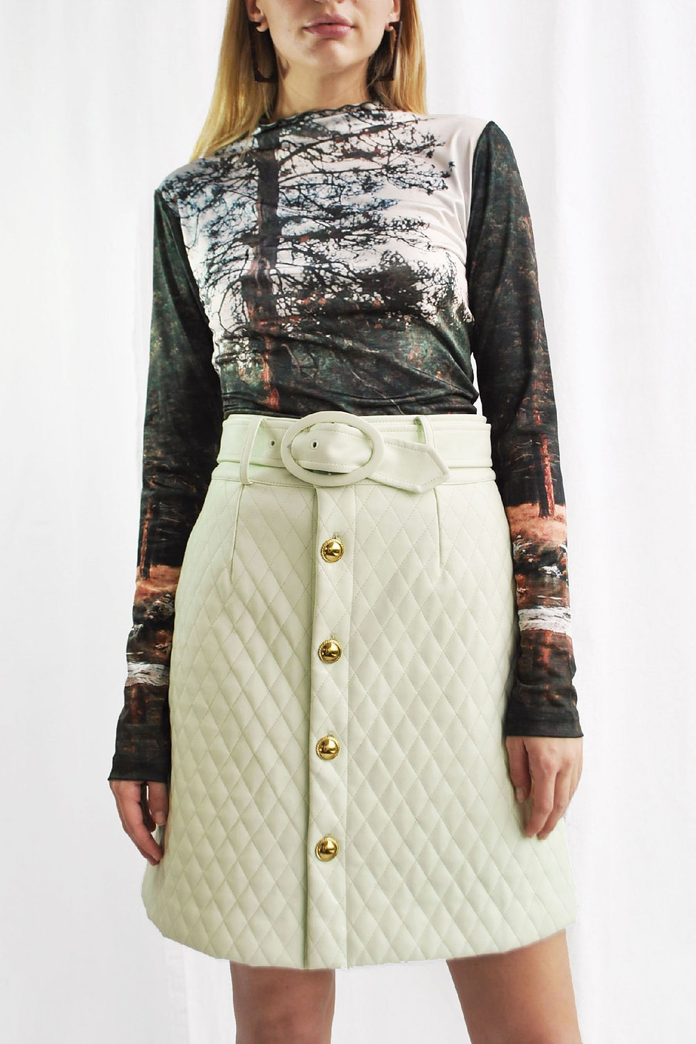 House of Sunny Mid Century Quilted Mini Skirt in Mint