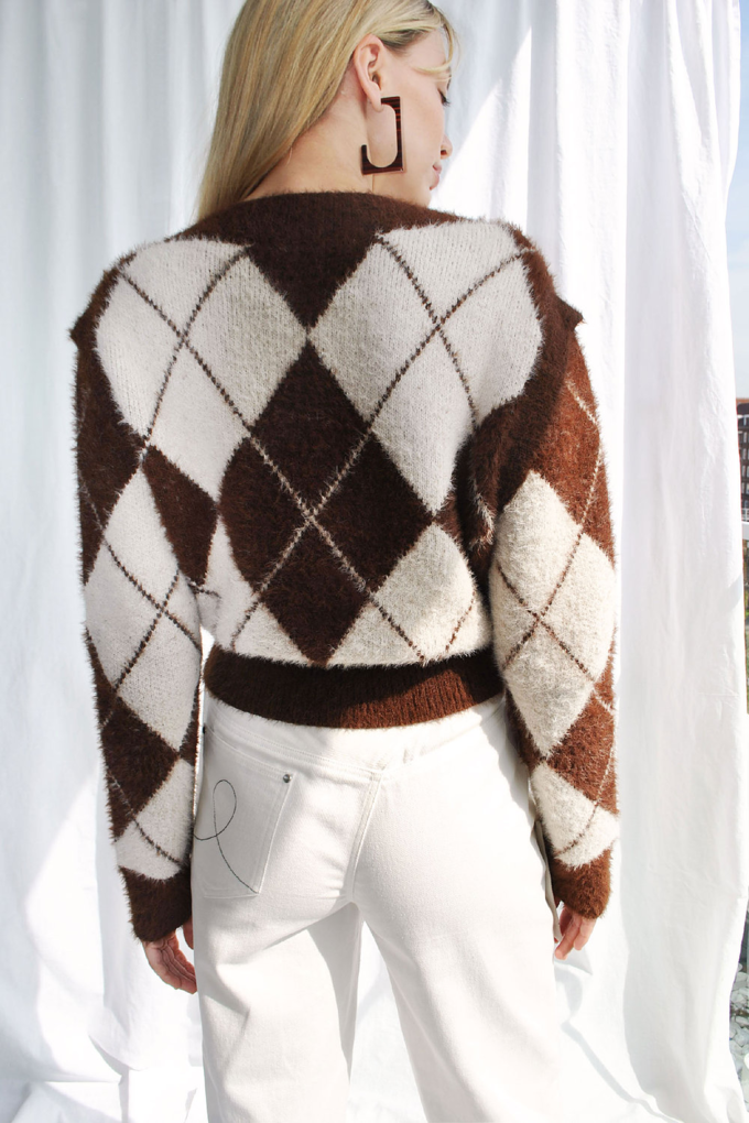 House of Sunny Argyle Convertible Sweater in Mahogany