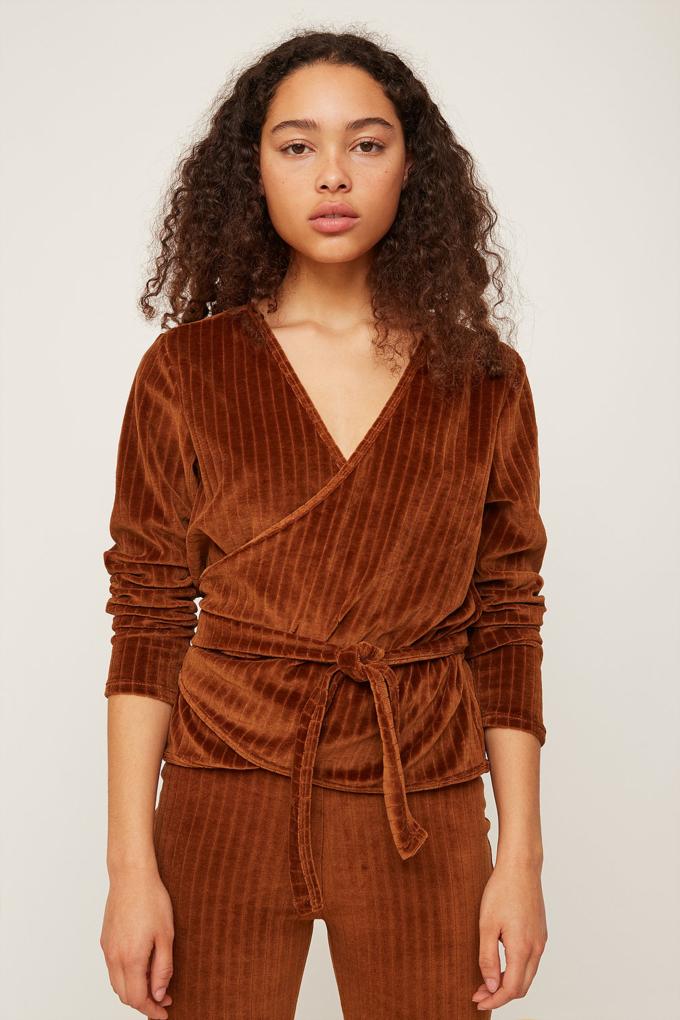 Rita Row Velvet Wrap Shirt in Brown