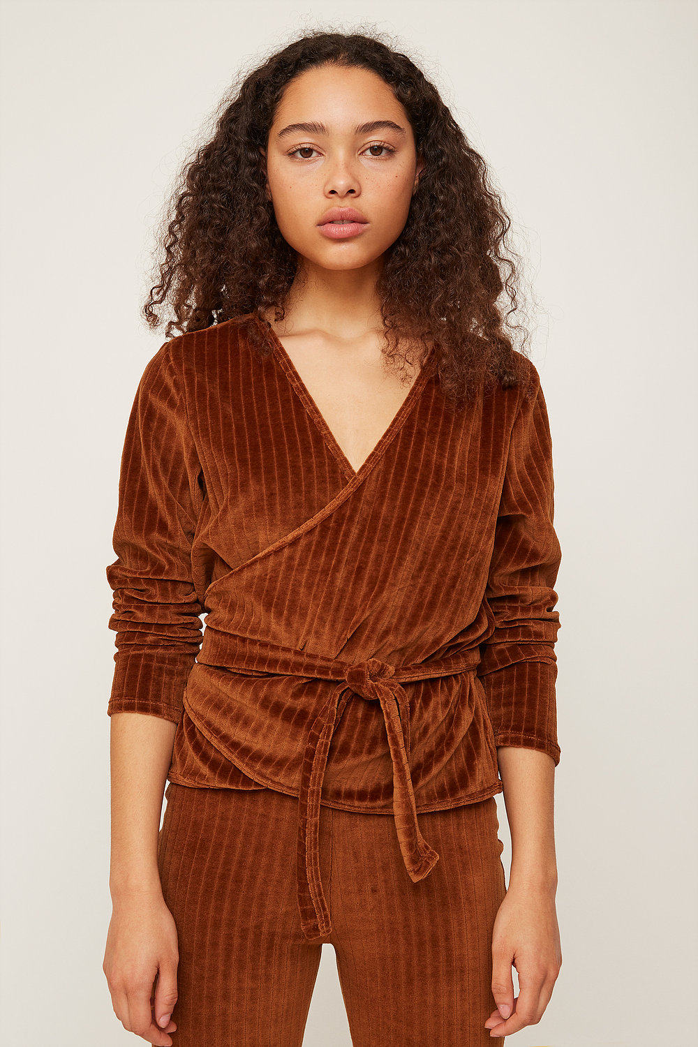 Rita Row Velvet Wrap Shirt in Brown