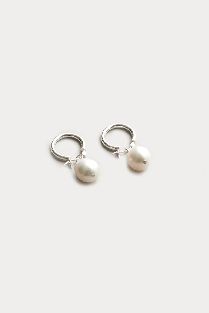 Wolf Circus Small Pearl Hoops in Silver
