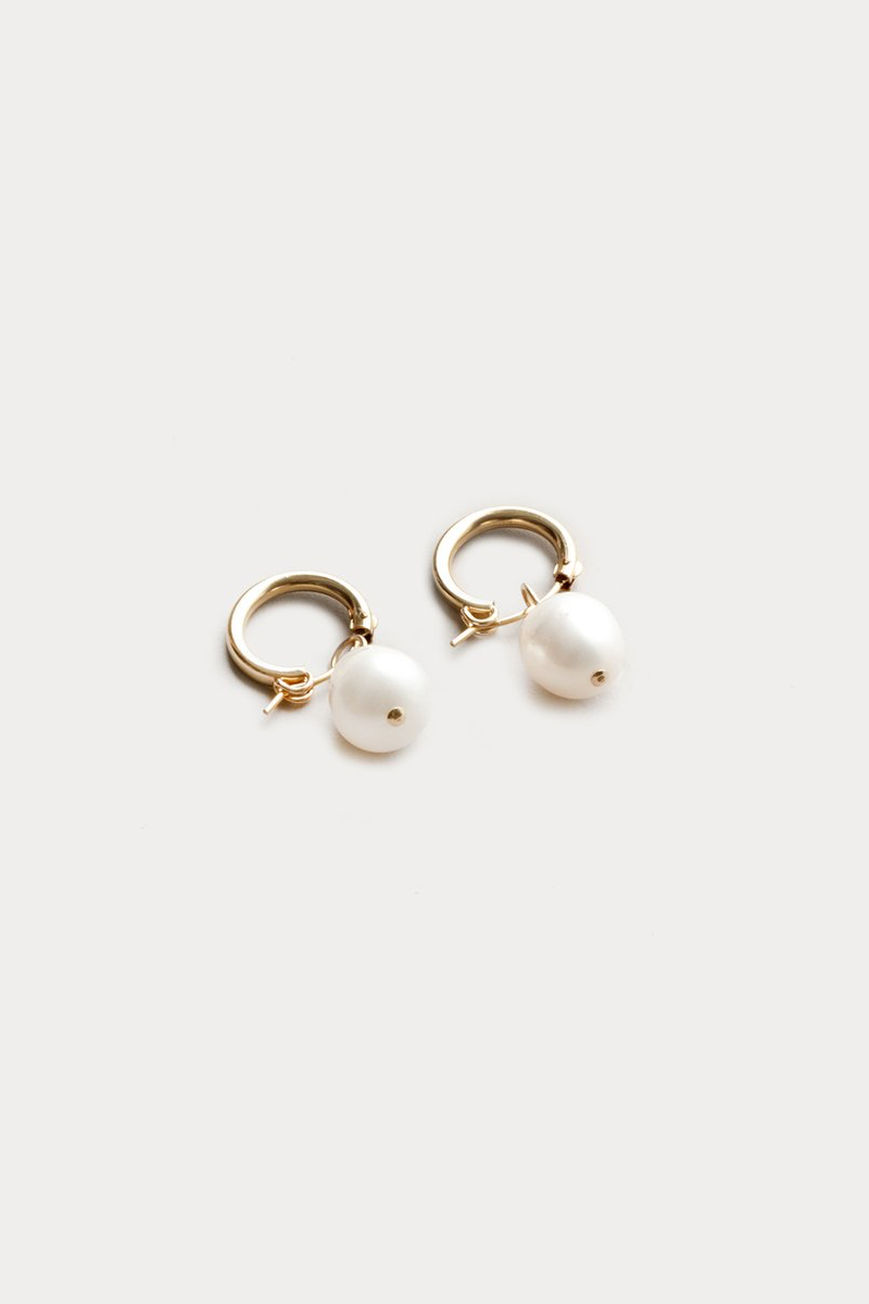 Wolf Circus Small Pearl Hoops in Gold