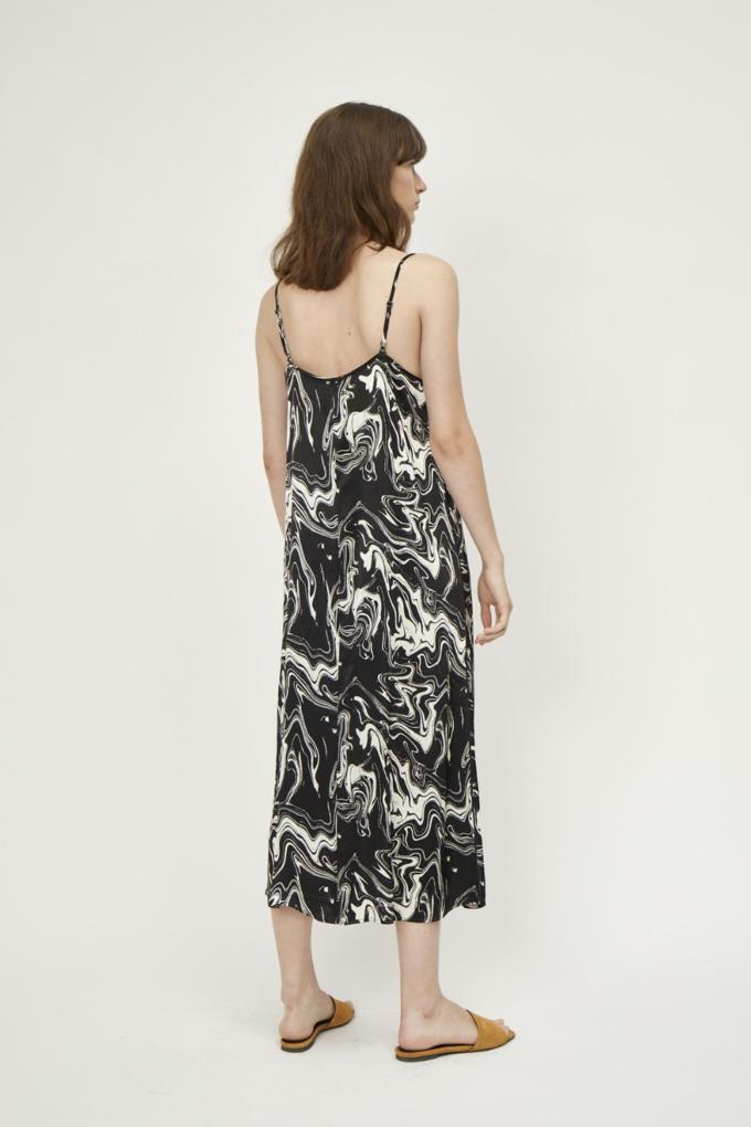 Just Female Lava Strap Dress in Black Marble