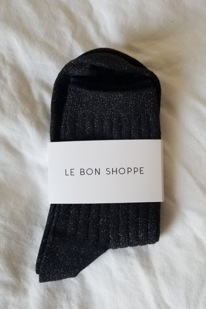 Le Bon Shoppe Glitter Her Socks in Copper Black