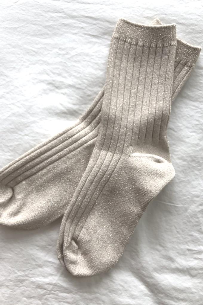 Le Bon Shoppe Glitter Her Socks in Pearl