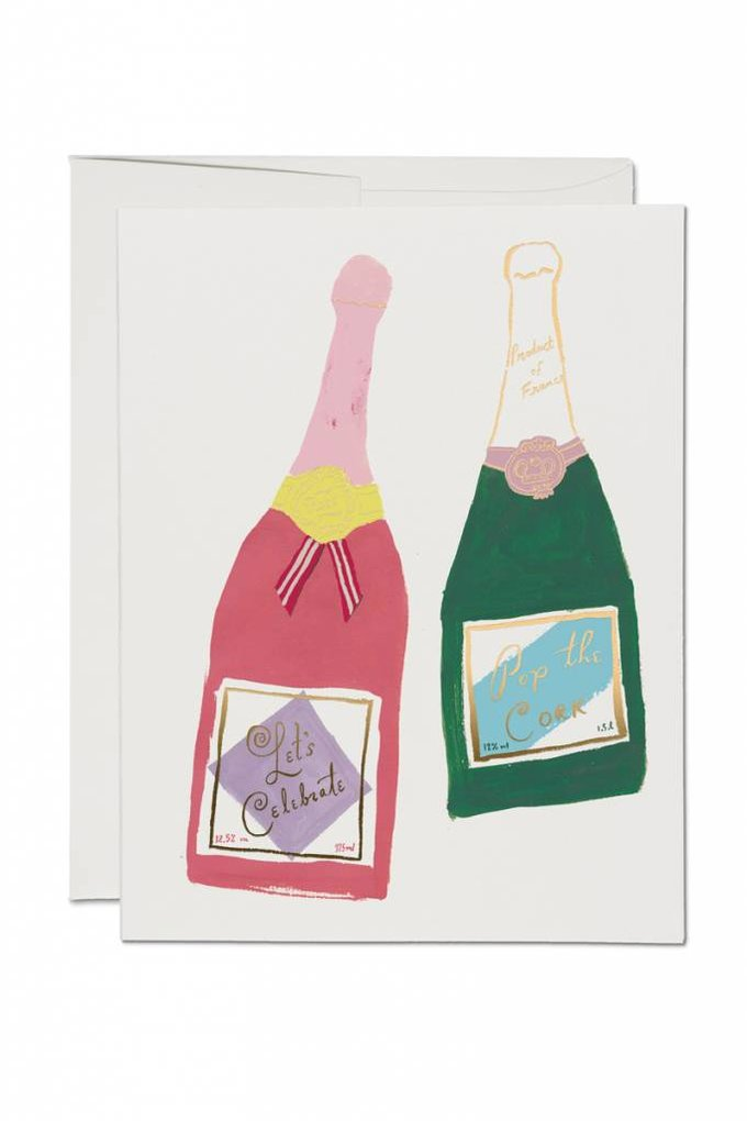 Red Cap Cards Champagne Congrats Card