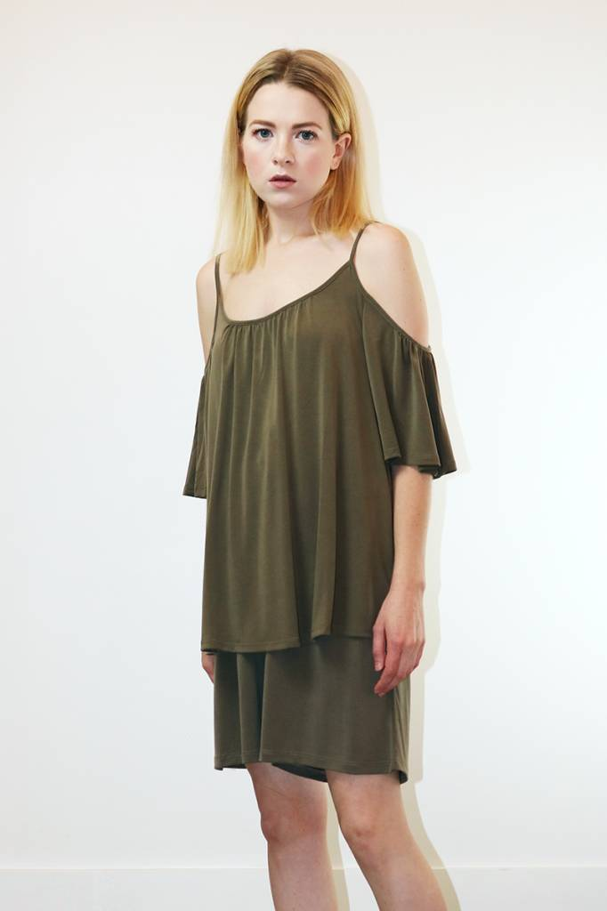 Just Female Johanne Top in Utility Green