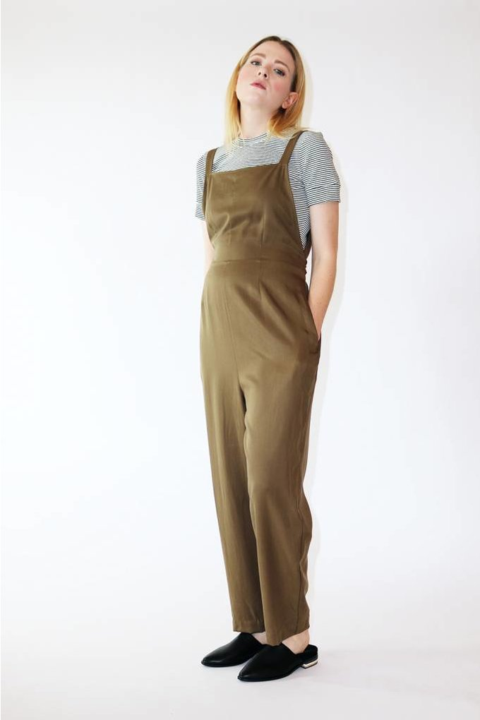 Just Female Caro Overalls in Utility Green