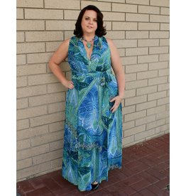 London Times Sue Chiffon Maxi Dress
