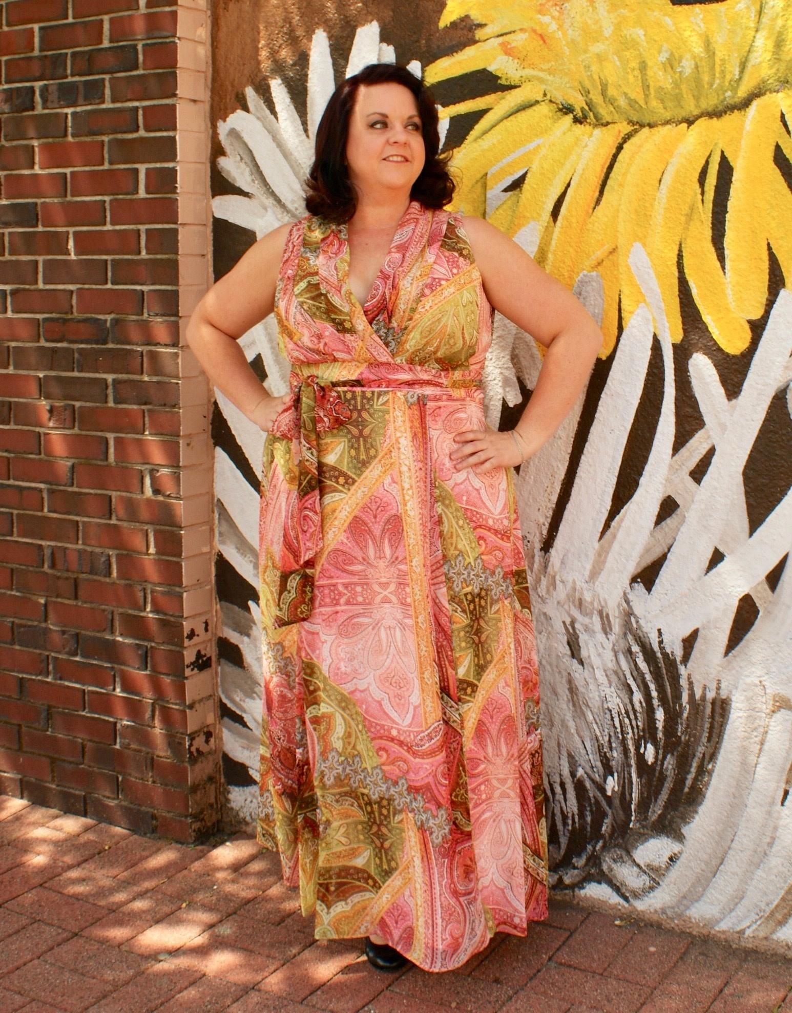 London Times Susan Chiffon Maxi Dress