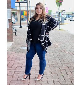 Papa Fashions Black Plaid Cardigan