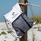 Sail Cloth Draw String Backpack in White with Blue