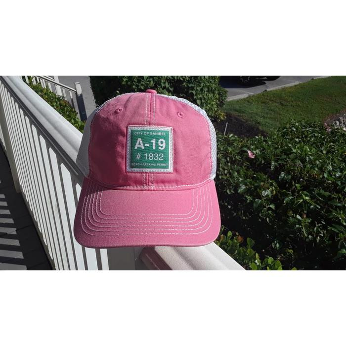 Sanibel Beach Parking Sticker Trucker Hat in Pink