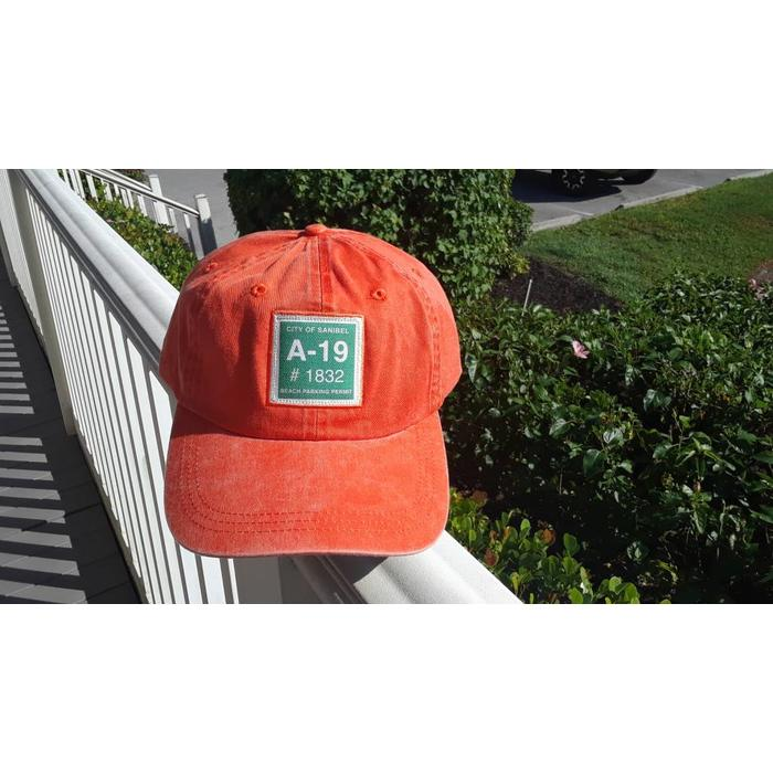Sanibel Beach Parking Sticker Hat in Orange