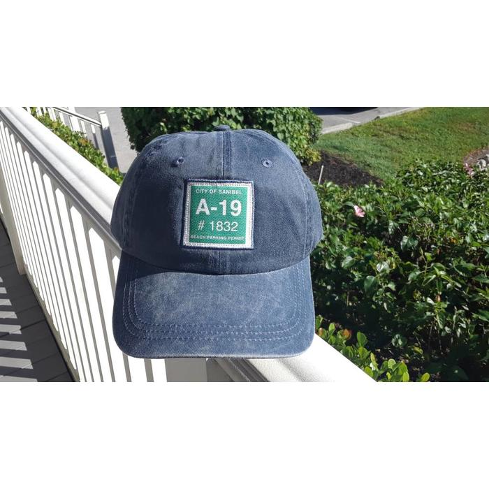 Sanibel Beach Parking Sticker Hat in Vintage Navy