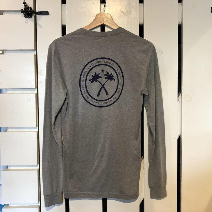 New Logo Adult Long Sleeve Shirt in Heathered Grey and Navy
