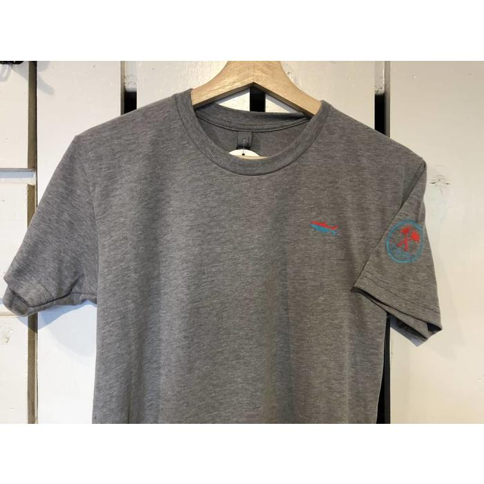 Angler Short Sleeve Sueded Crew in Mint and Heathered Grey