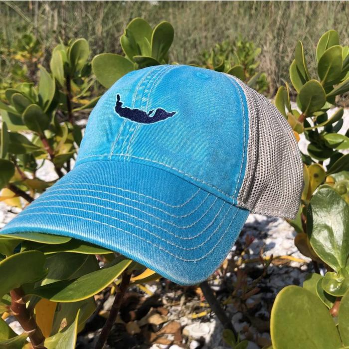 Turquoise Map Trucker Hat