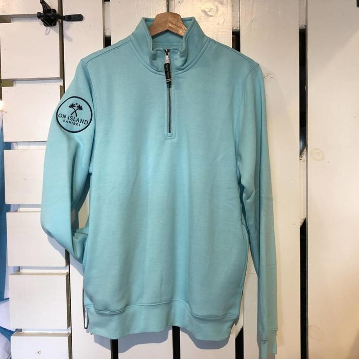 1/4 Zip Pullover in Navy, White and Aqua