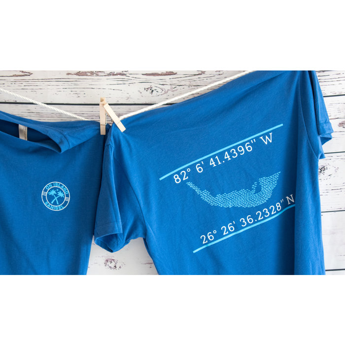 Map with Coordinates -  Royal Blue Short Sleeve