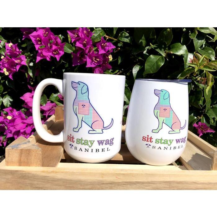 Sit Stay Wag Gingham Dog Coffee Mug