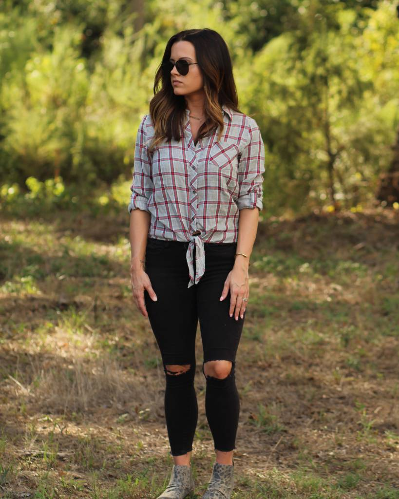Diamond T Outfitters Check It Tie Front Blouse