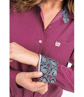 Cinch Womens Cinch Burgundy Dot Shirt