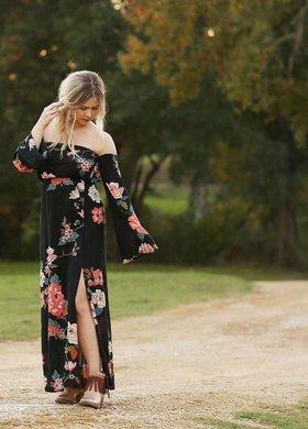 billabong Crystal Flower Black Dress