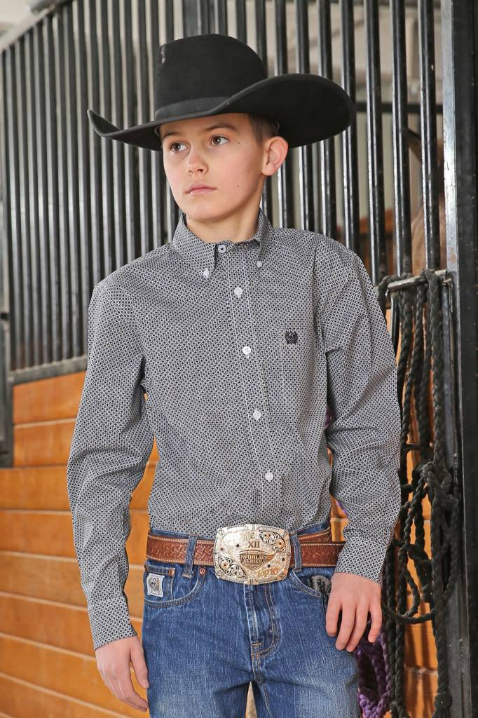 Cinch Boys Cinch Black Tiny Print Shirt