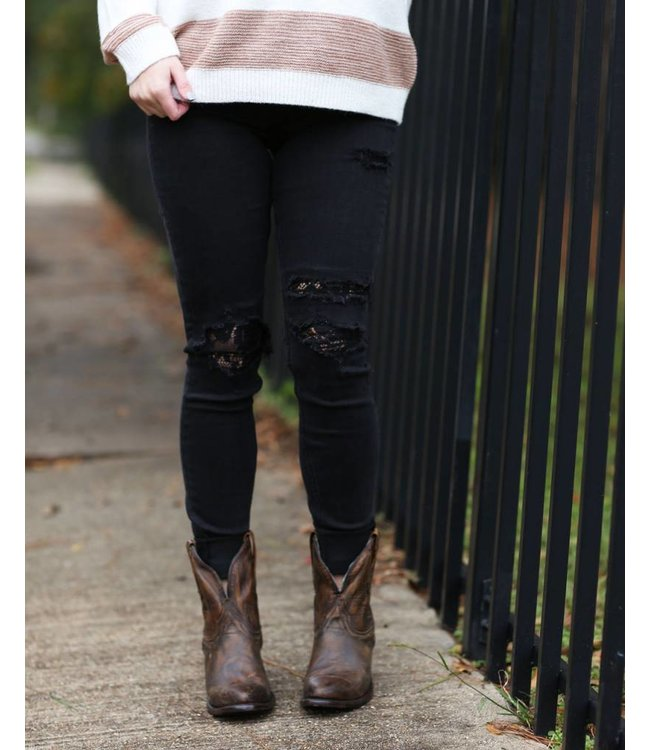 Silver Jeans The aiko Black Lace Skinny