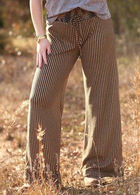 Vintage Havana Mustard Stripe Wide Leg Pant