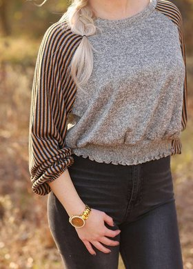 Vintage Havana Balloon Sleeve Mustard Stripe Sweater