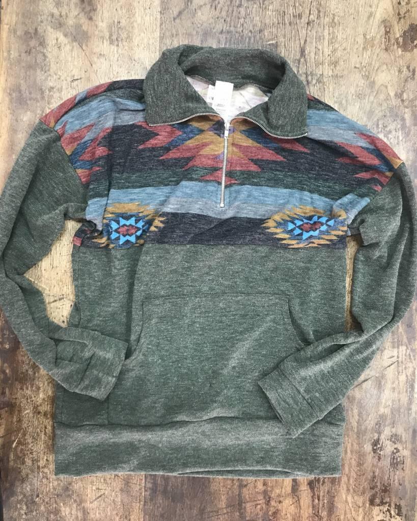 Diamond T Outfitters Dark Olive Aztec Quarter Zip