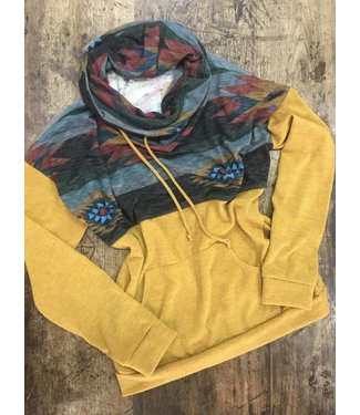 Diamond T Outfitters Mustard Aztec Cowl Neck Pullover