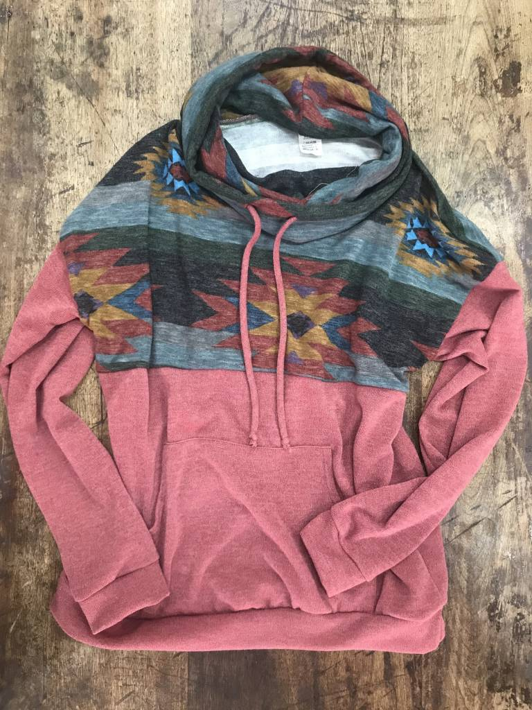 Diamond T Outfitters Dark Muave Aztec Cowl Neck Pullover