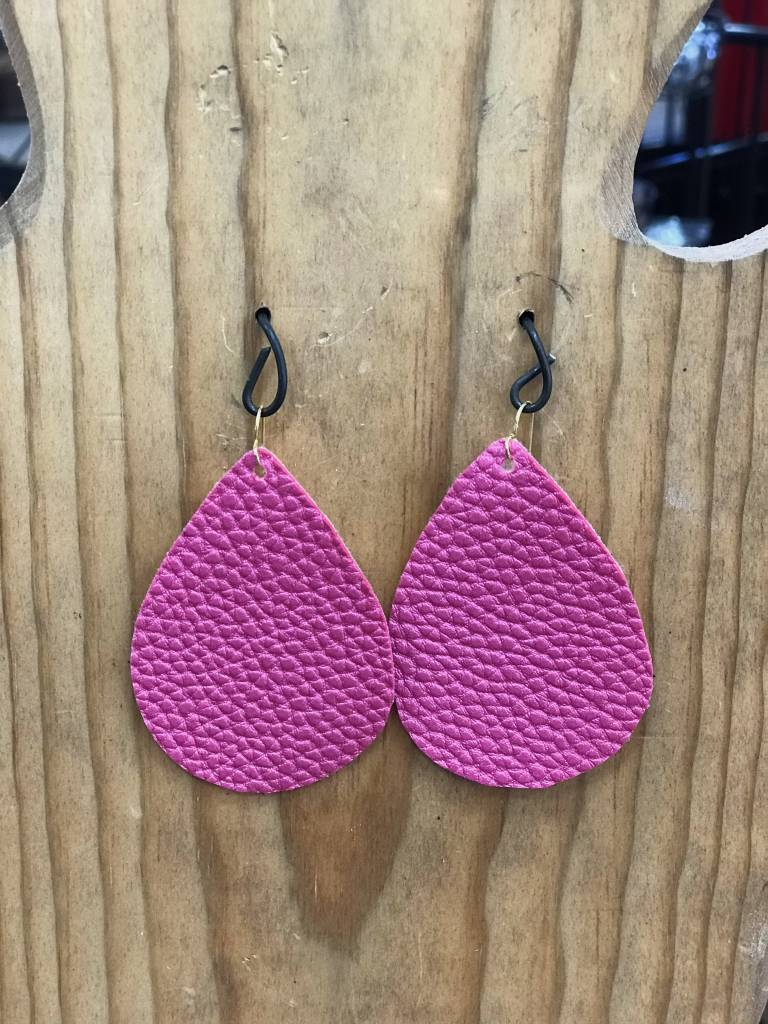 Diamond T Outfitters Pink Leather Teardrop Earring